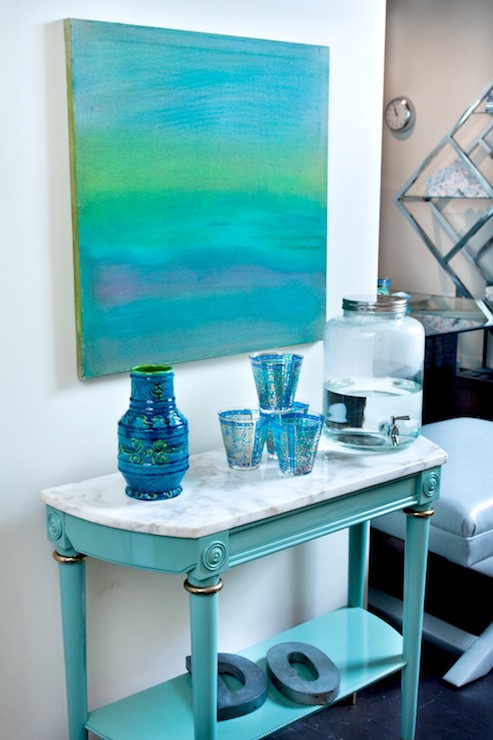 Turquoise Console Table Hollywood Regency Den Library