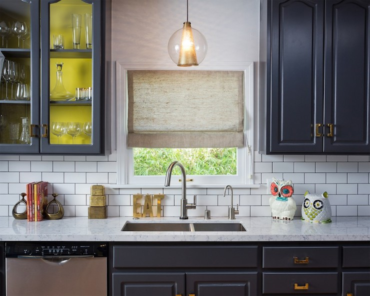 Navy cabinets eclectic kitchen house of honey for Navy blue and white kitchen cabinets