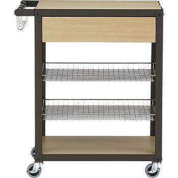 Storage Furniture - mise en place cart | CB2 - kitchen cart, rolling kitchen cart, wooden kitchen cart, contemporary kitchen cart,
