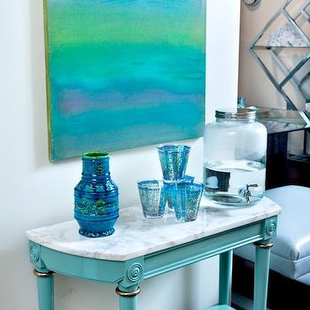 House of Honey - dens/libraries/offices - turquoise console table, turquoise blue console table, abstract art, turquoise abstract art, marble top console table, turquoise table,