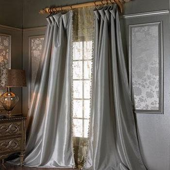 Window Treatments - Crystal Palace Curtains I Neiman Marcus - gray blue silk drapes, gray blue silk curtains, blue silk drapes, blue silk curtains,
