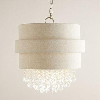 Lighting - Carlisle Drum Chandelier I Neiman Marcus - crystal drum chandelier, crystal drum pendant, crystal droplet drum chandelier,
