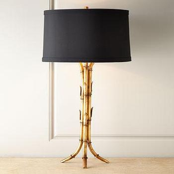 Lighting - Bamboo Tripod Lamp I Neiman Marcus - bamboo table lamp, gold bamboo table lamp, gold bamboo table lamp with black shade,