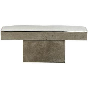 Seating - fuze bench | CB2 - sculptural bench, minimalist bench, solid aggregate bench,