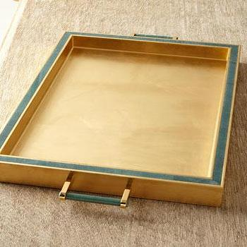 Decor/Accessories - AERIN Jade Rectangular Tray I Neiman Marcus - brass and jade tray, brass tray, brass tray with jade detail,