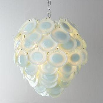 Lighting - Regina-Andrew Design Diva Pendant Light I Neiman Marcus - white glass pendant, white glass disc pendant, opalescent glass pendant,