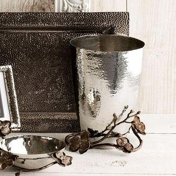 Decor/Accessories - Michael Aram Black Orchid Vase I Neiman Marcus - hammered metal vase, silver orchid vase, orchid wrapped vase,