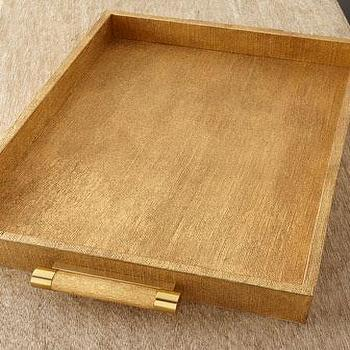 Decor/Accessories - AERIN Gold Linen Rectangular Tray I Neiman Marcus - gold tray, gold linen tray, gold linen bar tray,