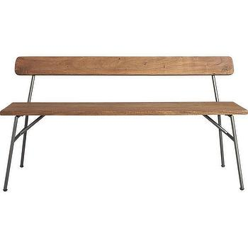 Seating - principle bench | CB2 - wood and iron bench, vintage style bench, vintage schoolhouse style bench,