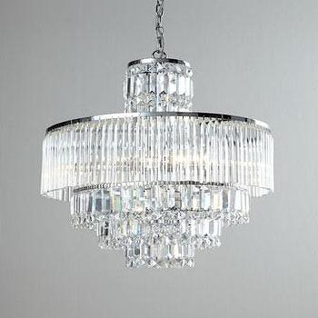 Lighting - Rossborough Crystal Chandelier I Neiman Marcus - crystal chandelier, tiered crystal chandelier, faceted crystal chandelier, crystal waterfall chandelier,
