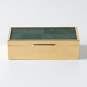 Decor/Accessories - AERIN Small Jade Decorative Box I Neiman Marcus - brass box, jade topped brass box, jade and brass box,