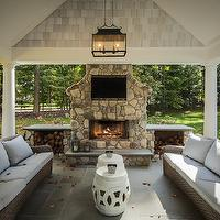 Z Plus Architects - decks/patios - covered patio, carriage lantern, outdoor fireplace, stone fireplace, outdoor stone fireplace, firewood cabinets, firewood cubbies, outdoor tv, rope stools, rope garden stools, white rope stools, outdoor sofas, woven sofas,