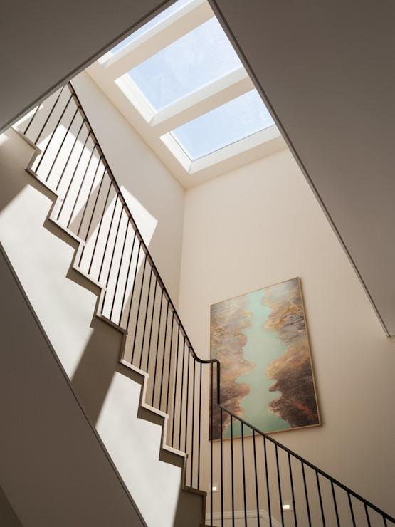 Staircase Skylight Contemporary Entrance Foyer Green