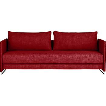 Seating - tandom red sleeper sofa | CB2 - modern red sofa, red tweed sofa, red sofa with metal base, red sofa with metal legs,