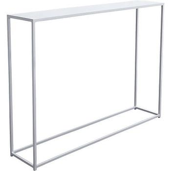 Tables - mini white console table | CB2 - white console table, slim white console table, white iron console table, contemporary white console table,