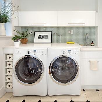 Blizzard White Countertops, Contemporary, laundry room, Josephine Design