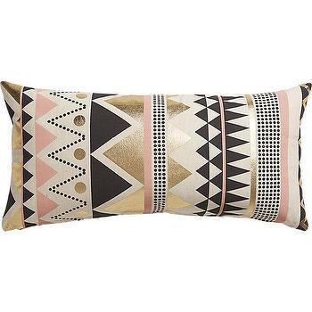 Pillows - janey  pillow I CB2 - pink black gray white and gold pillow, pink black and gold geometric pillow, pink black and gold foil pillow,