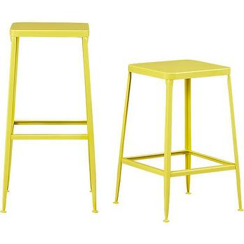 Seating - flint yellow barstools | CB2 - yellow barstool, yellow steel barstool, yellow backless barstool,