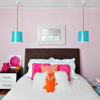 Clean Design Partners - girl's rooms - pink walls, pink wall color, hardwood floors, blue are rug, aqua blue rug, chocolate brown headboard, brown upholstered headboard, brown headboard, dark brown headboard, white bedding, white bed linens, white bed sheets, aqua blue stool, hot pink pillow, orange pillow, mongolian wool pillow, black lacquer nightstand with white drawer front, flower art, pink lacquered box, ceiling mount pendant, turquoise pendant light, hanging ceiling lamp, white mirror, mirror over bed, pink paint, pink paint colors, pink walls, pink wall paint, cotton candy pink paint, turquoise pendants, turquoise blue pendants, 2 tone nightstand, black and white nightstand,