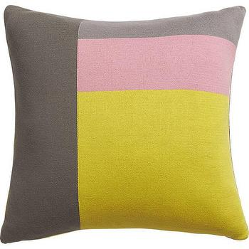 Pillows - panels pillow I CB2 - gray pink and yellow color block pillow, gray pink and yellow graphic pillow, gray yellow and pink modern pillow,