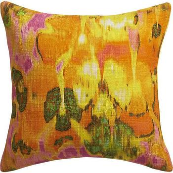 Pillows - pigments orange pillow I CB2 - tropical pillow, orange pink and green pillow, abstract tropical pillow, hawaiian pillow,