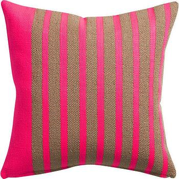 Pillows - division neon pink pillow I CB2 - hot pink and gold striped pillow, neon gold and pink striped pillow, neon pink and metallic gold pillow,