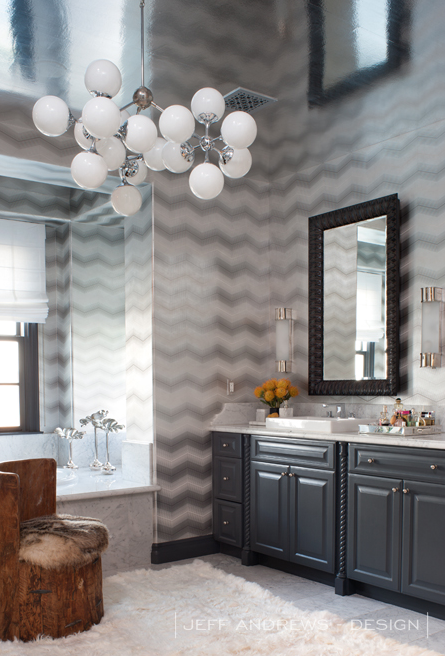 Gray Chevron Wallpaper Contemporary Bathroom Jeff