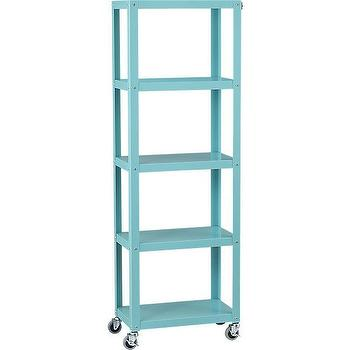 Storage Furniture - go-cart aqua five-shelf bookcase | CB2 - aqua blue bookcase, aqua blue storage shelf, aqua blue metal shelf,