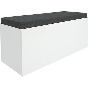 Storage Furniture - catch-all storage bench | CB2 - white storage bench, modern white storage bench, white storage bench with gray seat,