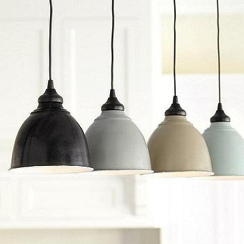 Lighting - Small Industrial Metal Shade with Adapter | Ballard Designs - black industrial pendant, gray industrial pendant, taupe industrial pendant, blue industrial pendant, black enamel pendant, gray enamel pendant, taupe enamel pendant, blue enamel pendant,