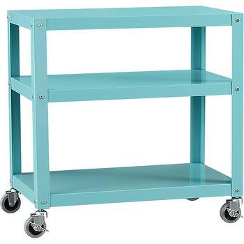Storage Furniture - go-cart aqua three-shelf table | CB2 - aqua rolling cart, aqua blue three shelf cart, aqua blue cart on castors,