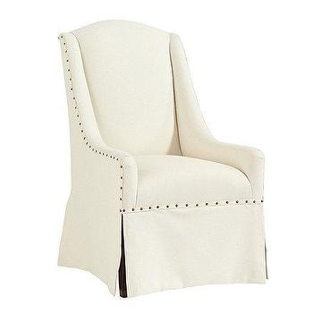 Seating - Cortina Chair | Ballard Designs - ivory skirted chair, ivory skirted chair with nailhead trim, upholstered skirted chair with nailhead trim,