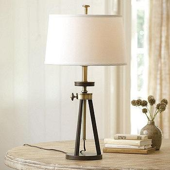 Lighting - Oliver Table Lamp | Ballard Designs - brass and steel table lamp, antique brass table lamp, adjustable brass and steel table lamp,