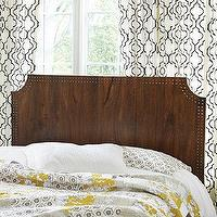Beds/Headboards - Shara Studded Headboard | Ballard Designs - wooden headboard with nailhead trim, cut corner headboard with nailhead trim, stained wooded headboard with nailhead trim,