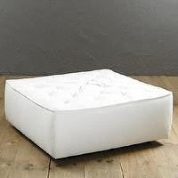 Seating - Carmel Cocktail Ottoman | Ballard Designs - white cocktail ottoman, white tufted ottoman, square shape tufted white ottoman,