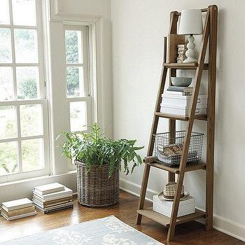 Storage Furniture - Sawhorse Tall Bookshelf | Ballard Designs - sawhorse bookshelf, elm bookshelf, elm ladder bookshelf,