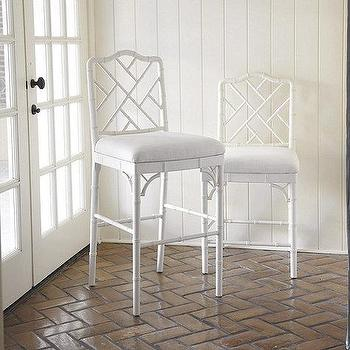Seating - Dayna Bar Stool | Ballard Designs - white faux bamboo barstool, white faux bamboo counter stool, chinese chippendale barstool, chinese chippendale counter stool, white bamboo barstool, white bamboo counter stool,