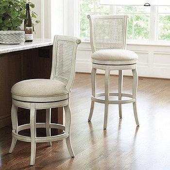 Seating - Julien Armless Bar Stool | Ballard Designs - white cane barstool, white cane counter stool, white cane bar stool,  cane barstool with linen seat, swivel cane bar stool, swivel cane counter stool,