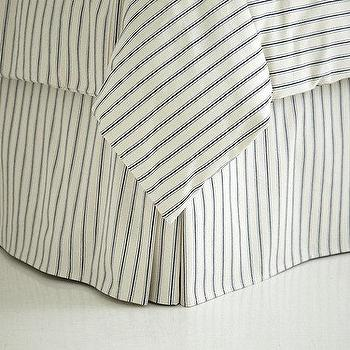 Bedding - Ticking Stripe Bedskirt - Navy | Ballard Designs - navy ticking bedskirt, ticking bedskirt, navy and ivory ticking bedskirt,