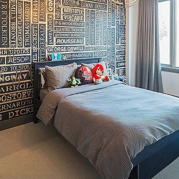 Peter A Seller - bedrooms - vintage name plates, accent wall, accent wall ideas, kids accent wall, kids accent walls ideas, armillary chandelier, armillary pendants, boys room, boy bedroom, blu ebed, kids beds, ticking stripe duvet, ticking stripe bedding,