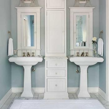 His and Her Pedestal Sinks, Transitional, bathroom, Colorado Homes & Lifestyles