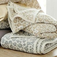 Bedding - Leopard Fleece Blanket | Ballard Designs - leopard fleece blanket, blue leopard print blanket, blue leopard print fleece blanket,
