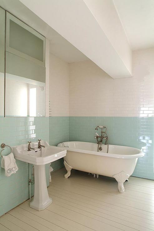 turquoise subway tiles transitional bathroom