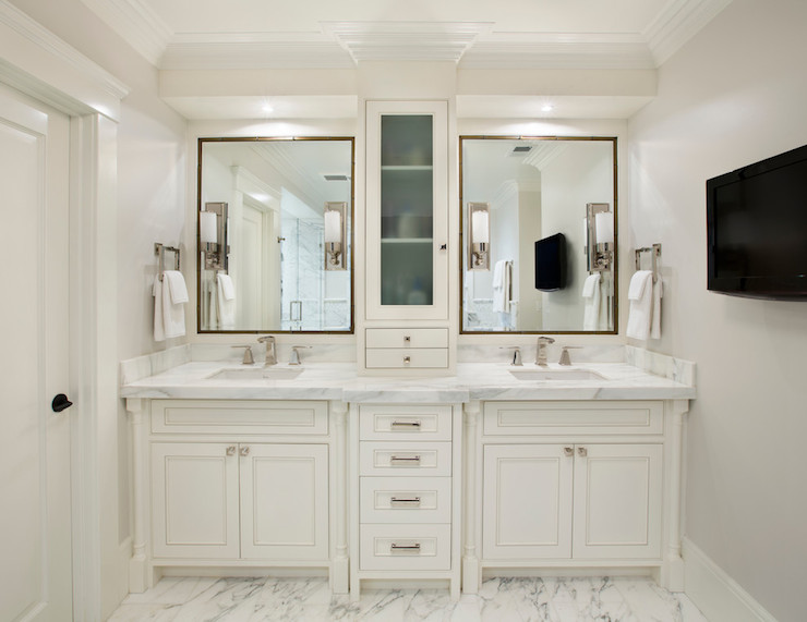 Master Bathroom Features His And Her Washstands Topped With White