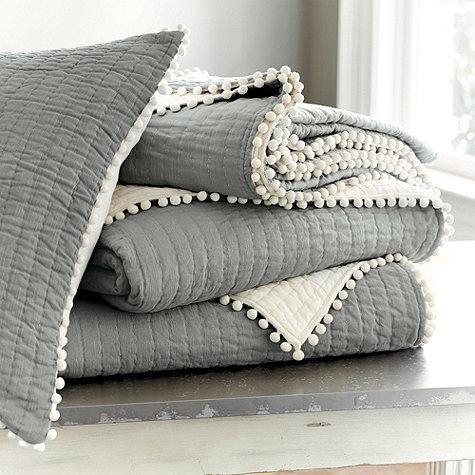 Audree Pom Pom Quilt Gray Ballard Designs
