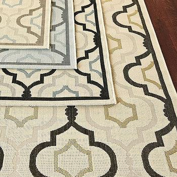 Rugs - Saybrook Indoor/Outdoor Rug | Ballard Designs - yellow black and gray geometric rug, blue gray and black geometric rug, blue and gray geometric rug, brown and blue geometric rug, geometric outdoor rug, moroccan tile indoor outdoor rug,