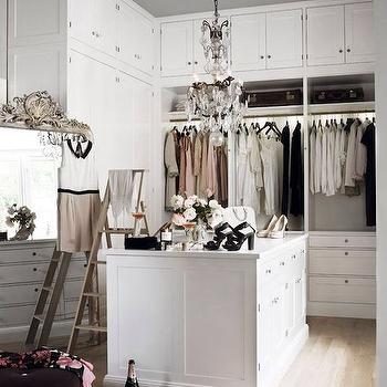 closets - walk in closet, closet ideas, walk in closet ideas, closet ideas, closet island, built in closet cabinets, floor to ceiling cabinets, closet ladders, closet chandeliers, gray ceiling, painted ceiling, painted closet ceiling, closet ceiling,