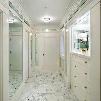 Allwood Construction - bathrooms - dressing room, dressing room ideas, walk in closet, walk in closet ideas, built in chest, brass knobs, white and grey marble, white and gray marble tile, white and gray marble floor, mirrored dressing room, long closet, long dressing room,