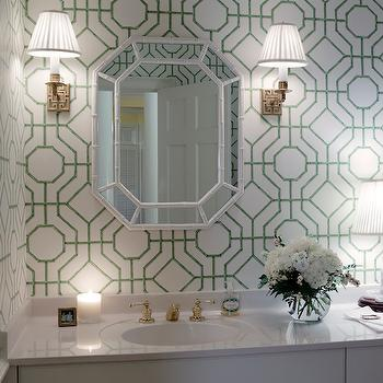 Jessica Walmsley Interiors - bathrooms - built in vanity, built in washstand, white and green wallpaper, bamboo wallpaper, green bamboo wallpaper, cowtan and tout wallpaper, bamboo mirror, faux bamboo mirror, white bamboo mirror, white faux bamboo mirrors, greek key sconces, 1 Light Abbot Single Arm Sconce, Cowtan and Tout Bamboo Wallpaper,