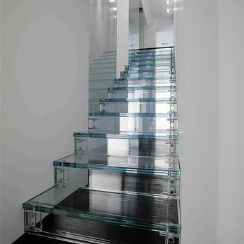 Glass Staircase, Contemporary, entrance/foyer